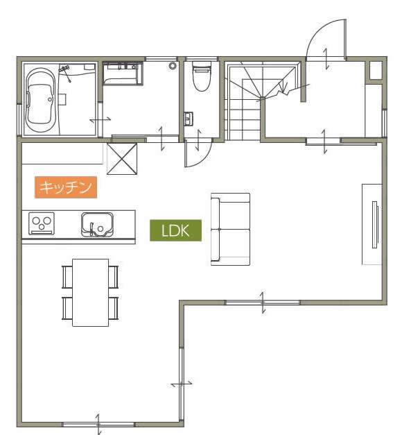 キッチン対面型