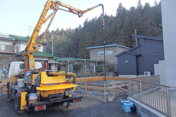 F様邸、基礎コンクリート打設